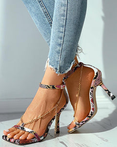 Plain / Snakeskin Chain Strap Square Toe Stiletto Heel