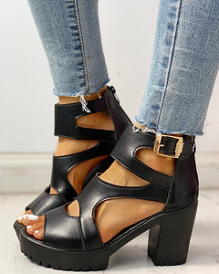 Solid PU Ankle Strap Platform Chunky Heeled Sandals