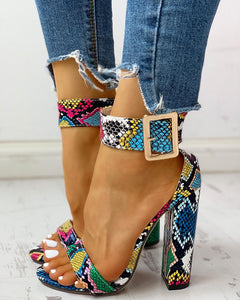 Snakeskin Ankle Buckled Chunky Heeled Sandals