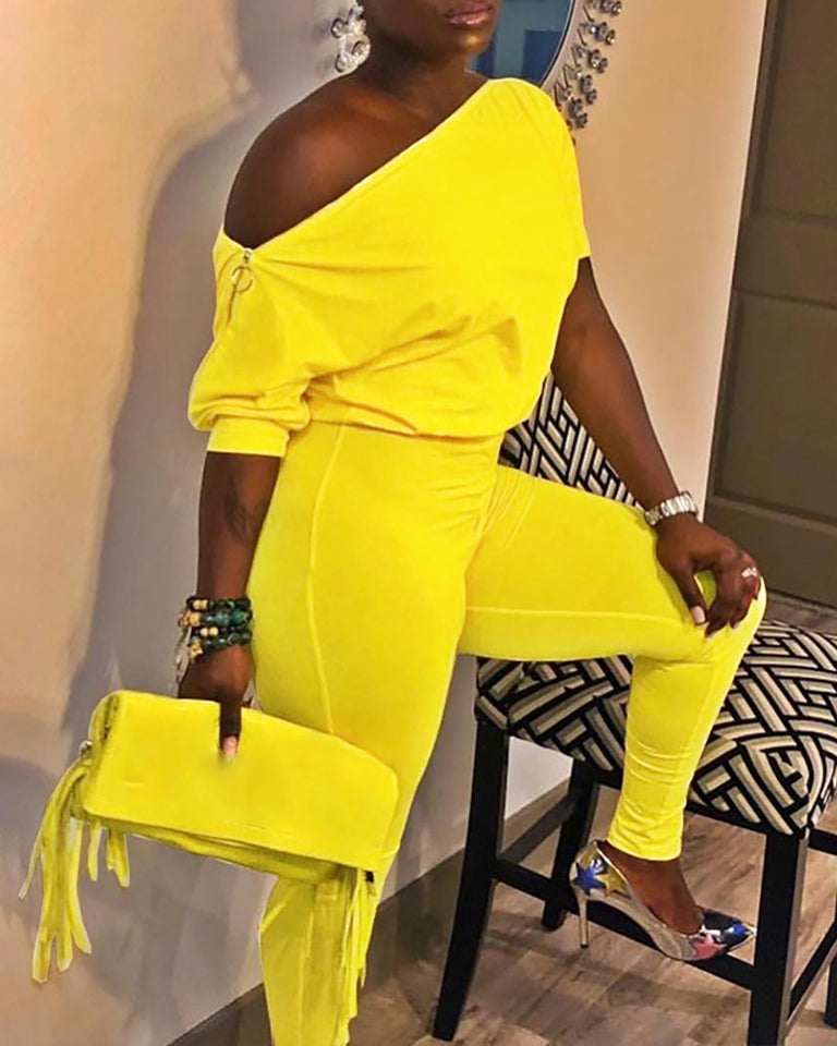 Summer Solid Color One Shoulder Jumpsuits