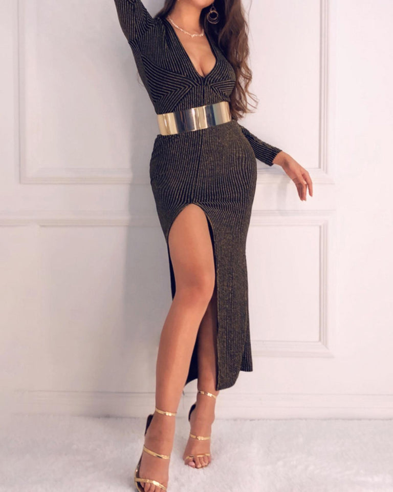 Stripes Plunge Thigh Slit Evening Dress