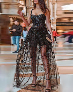 Glitter Spaghetti Strap Sheer Mesh Insert Sequins Dress