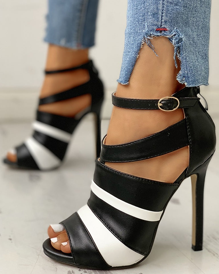 Colorblock Peep Toe Thin Heeled Sandals