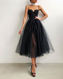 Spaghetti Strap Plain Sheer Mesh Evening Dress