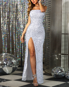 High Slit Tube Sequins Dress