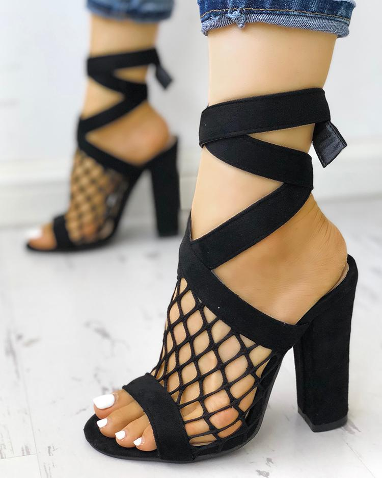 Hollow Out Lace-up Chunky Sandals