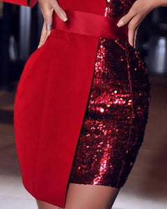 One Shoulder Sequin Patchwork Party Dress