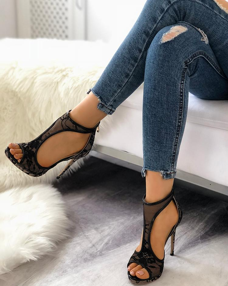 Open Toe Cutout Lace Thin Heel Sandals