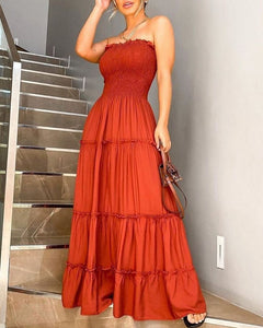 Bandeau Shirring Design Layered Ruffles Maxi Dress