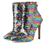Colorful Bling Sequins  Boots Fashion Zipper High Heels