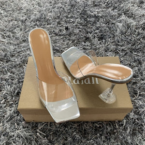 Transparent  Sandals Pointed Clear Crystal Cup High Heel