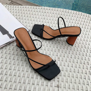 High Heel Sandals Slippers Slip On Open