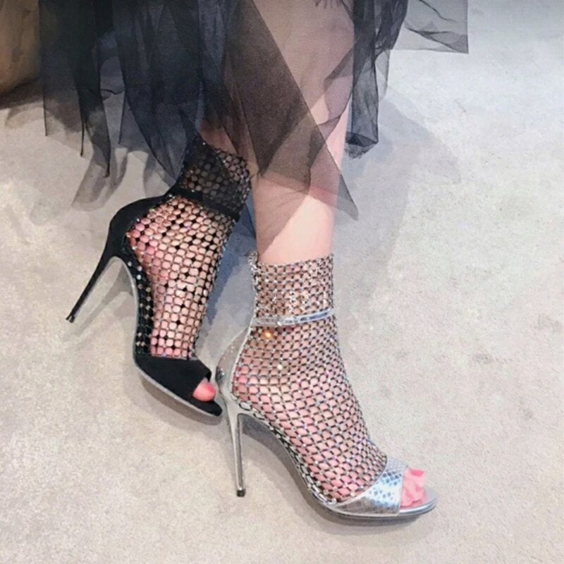 MUNIR MODE - Studded Grid Mesh Open Toe Thin Heels