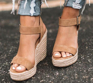Women PU Thick Platform Wedges Gladiator Sandals