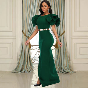 Women Party Dresses Maxi Ruffle Sleeves