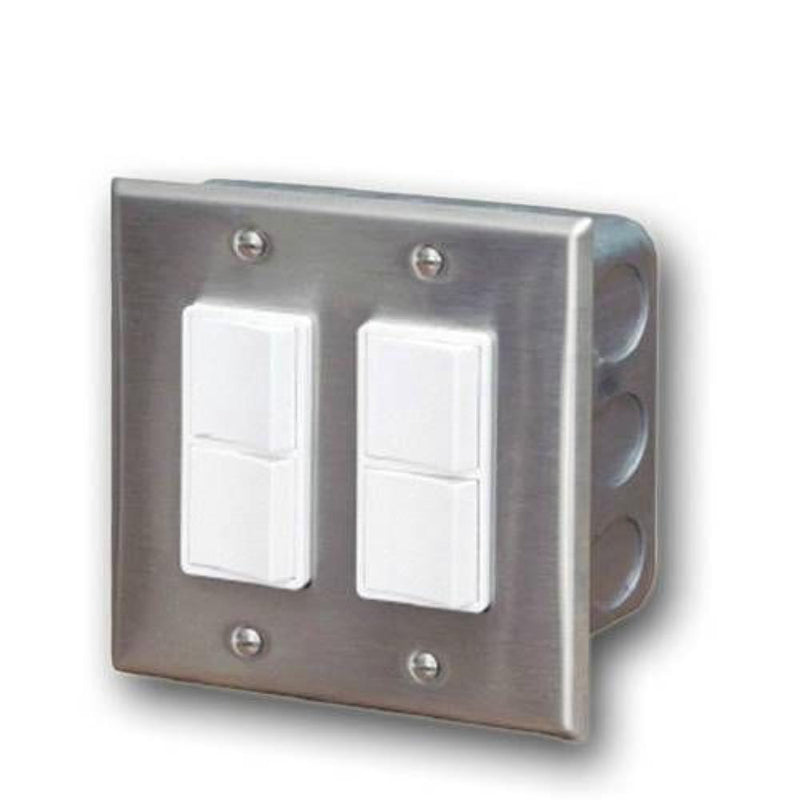 Infratech - Accessory - Dual Duplex Switch Wall Plate and Gang Box 20 Amp Per Pole