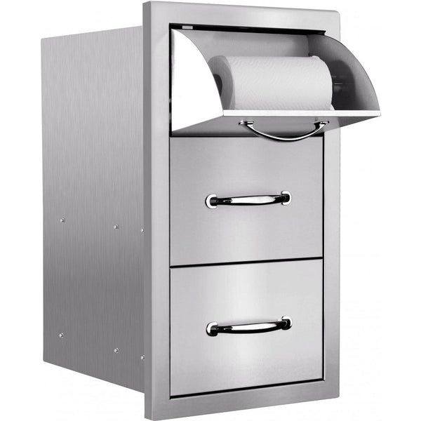 "Summerset 15"" Masonry Edge Double Drawer w/ Paper Towel Holder"