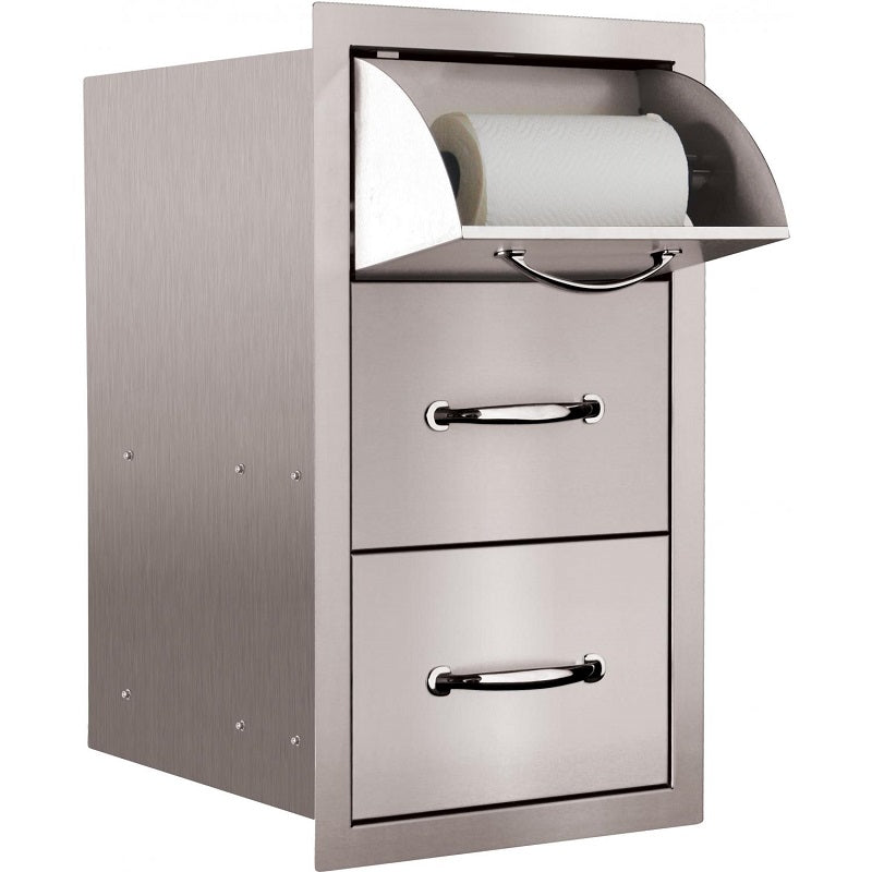 "Summerset 15"" Double Access Drawer w/ Paper Towel Holder"