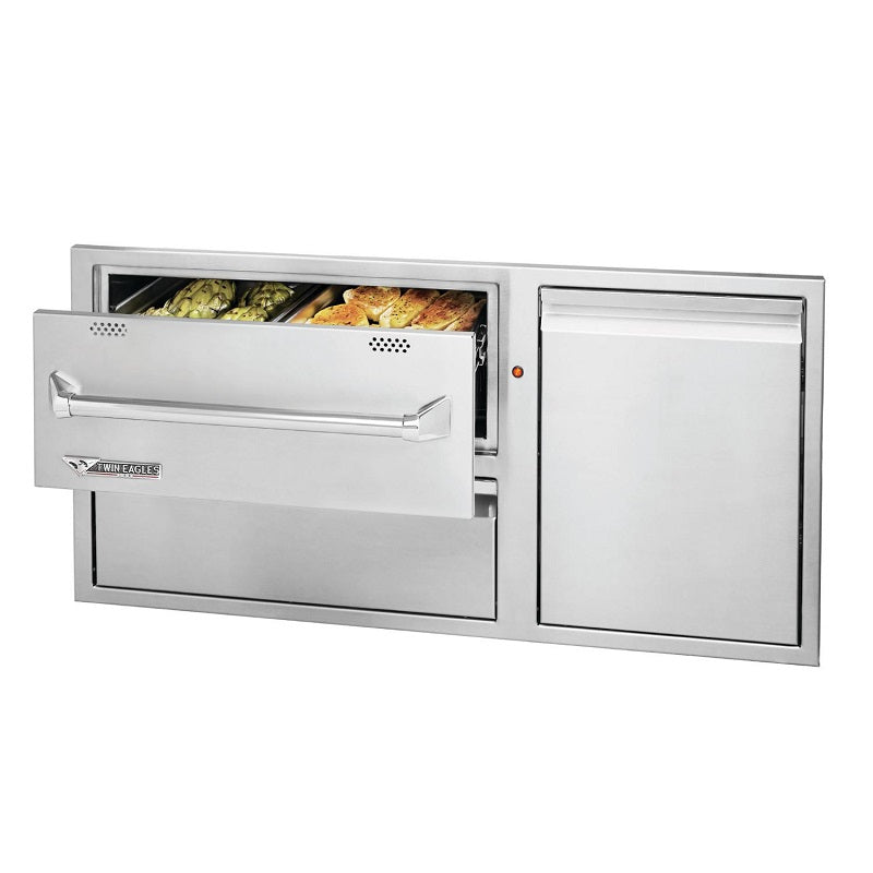 "Twin Eagles 42"" 120v Warming Drawer w/ Utility Drawer & Roll-out Trash"