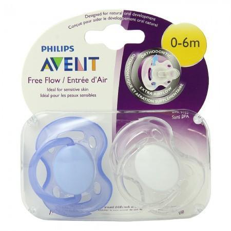 Philips Avent BPA Free Freeflow Pacifier, 0-6 Months 2 ea (1 Pack)
