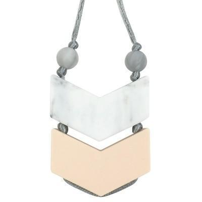Itzy Ritzy Double Chevron Teething Pendant - Marble