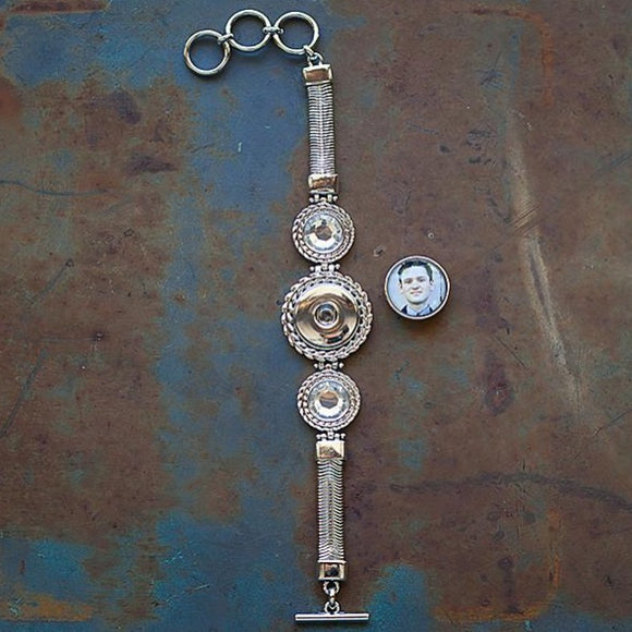 Single Charm Rhinestone Toggle Bracelet