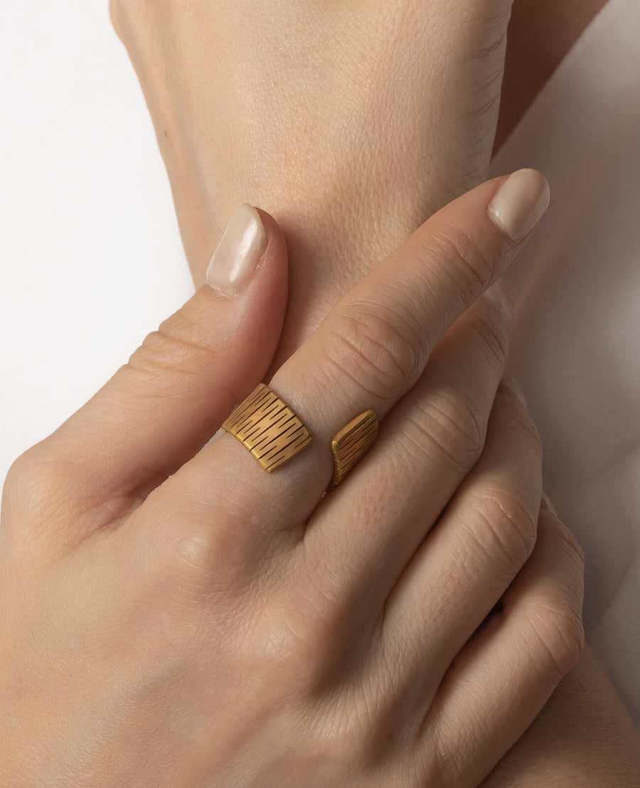Liquify Flat Ring - 18K Gold Plated Brass, Changeable Piece