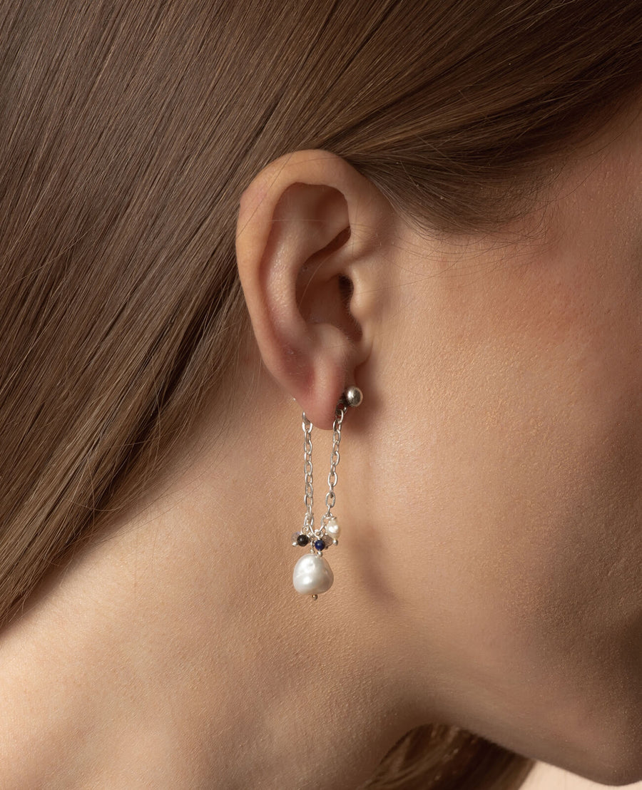 Charm Earrings - 925 Sterling Silver with Freshwater Pearls