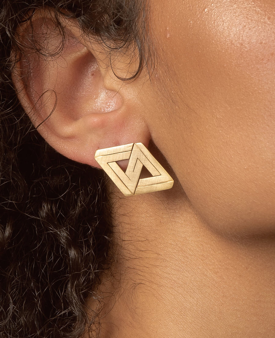 The Impossible Double Triangle Earrings - 18K Gold Plated Brass
