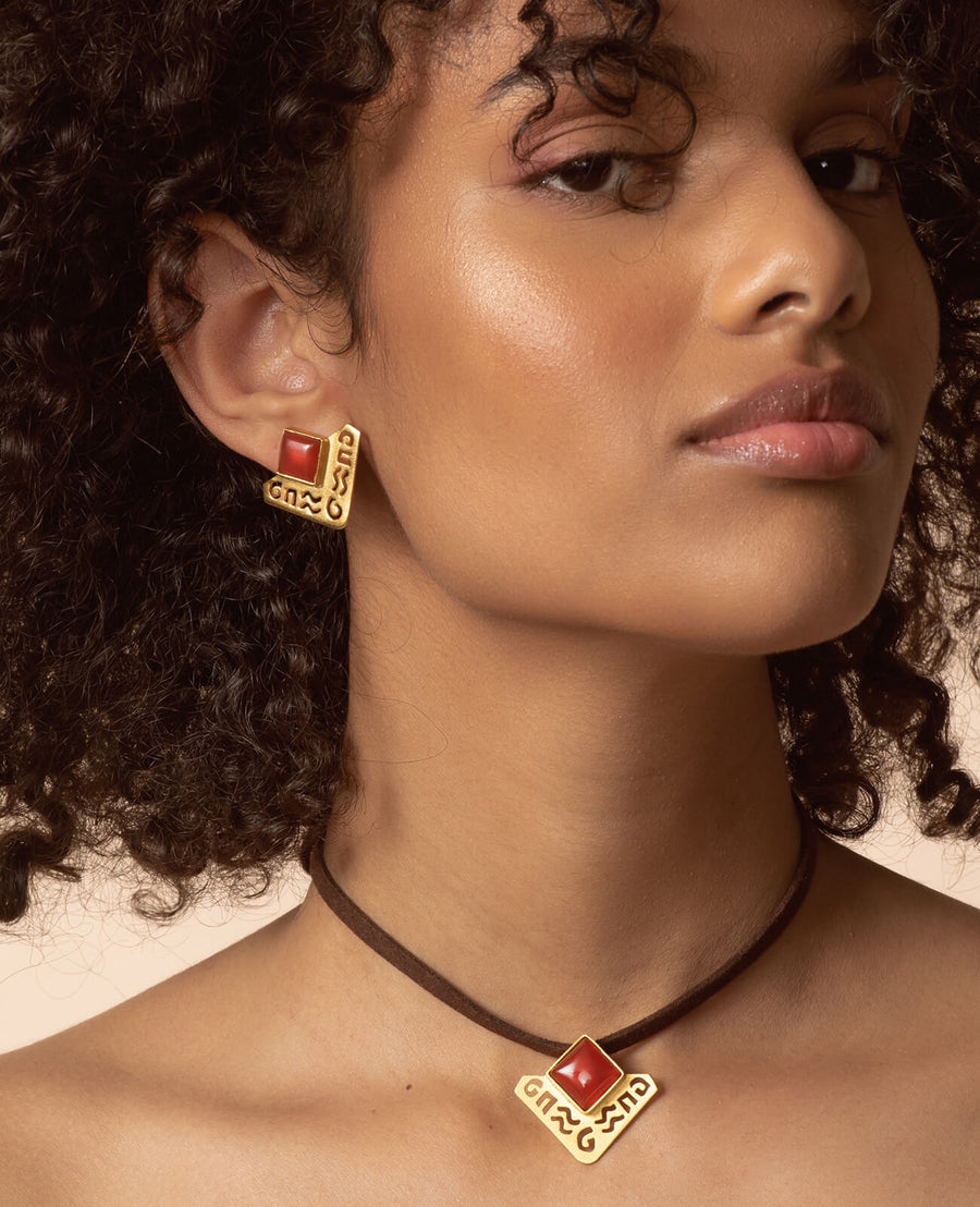 Amara Earrings - 18K Gold Plated Silver with Brown Agate
