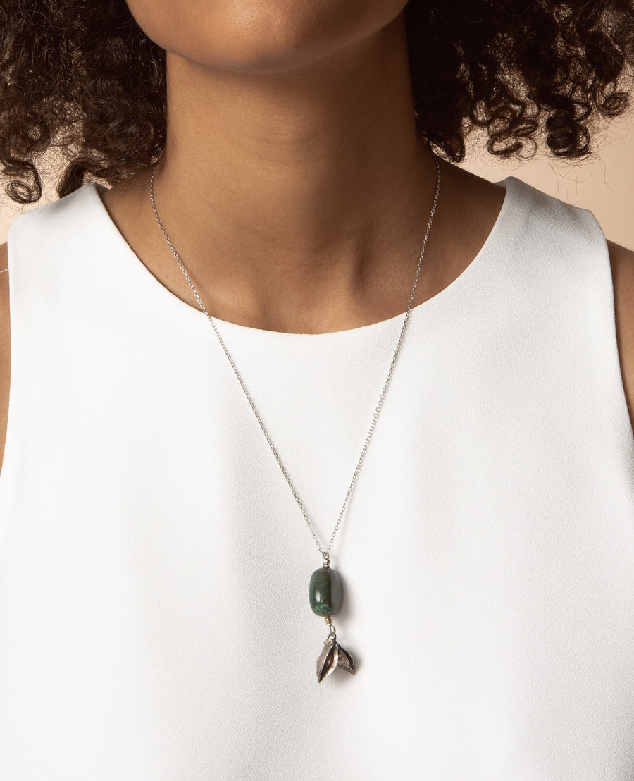 Mon Jardin Secret Necklace - 925 Sterling Silver with Natural Stone