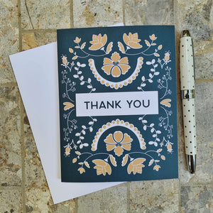 Thank You - Blue Floral Greeting Card