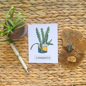 Congrats - Fishbone Cactus Greeting Card
