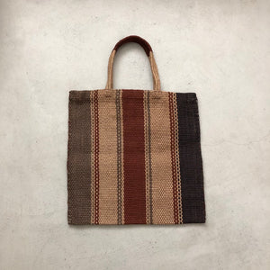 Maison Bengal / Hand woven jute bag / Thick Stripe / Black × Brown