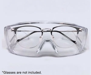 Clear Cycling Goggles  Eyeglass Protector with Full Frame & Adjustable Temple Length, Anti-splash Droplets & Dust-proof, for Men and Women