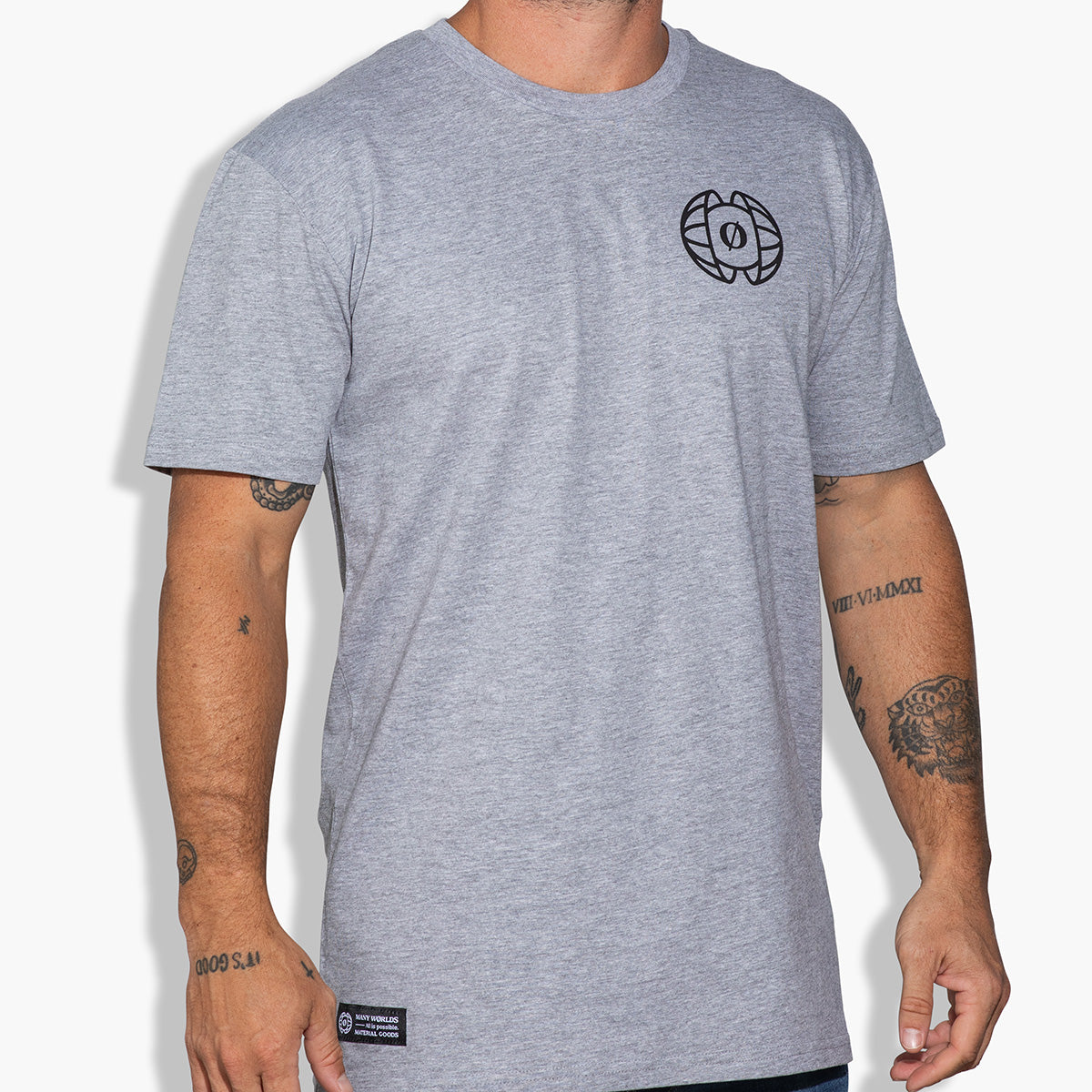 Many Worlds Split Earth Tee (Grey)