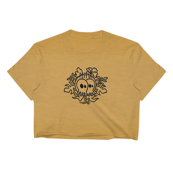 Skullconut Leaves Gold Ladies Crop Top