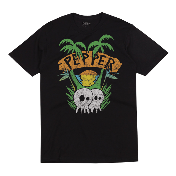 "Pepper ""Skullconut Trees"" Black Tee"