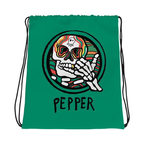 "Pepper ""Hang Loose Skeleton"" Drawstring Bag"