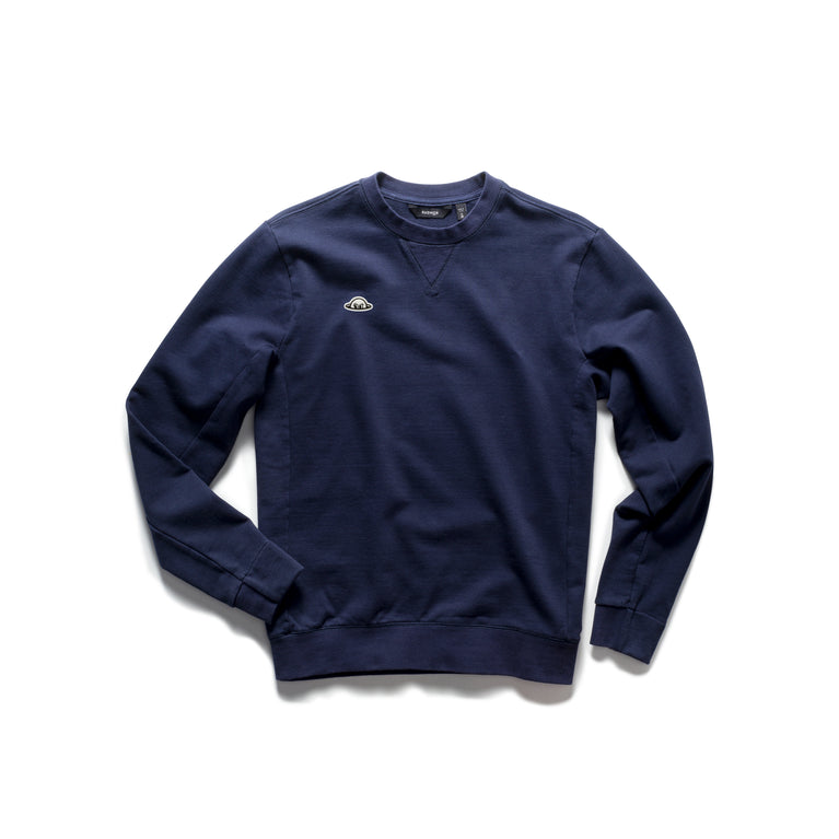 PERKINS BobRad - Organic Cotton Loop Terry Crew Sweatshirt - Navy