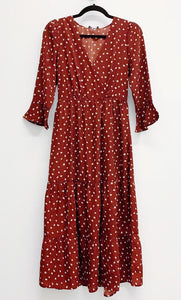 Red Polka Dot  Boho Ruffle Dress - Accents Dallas