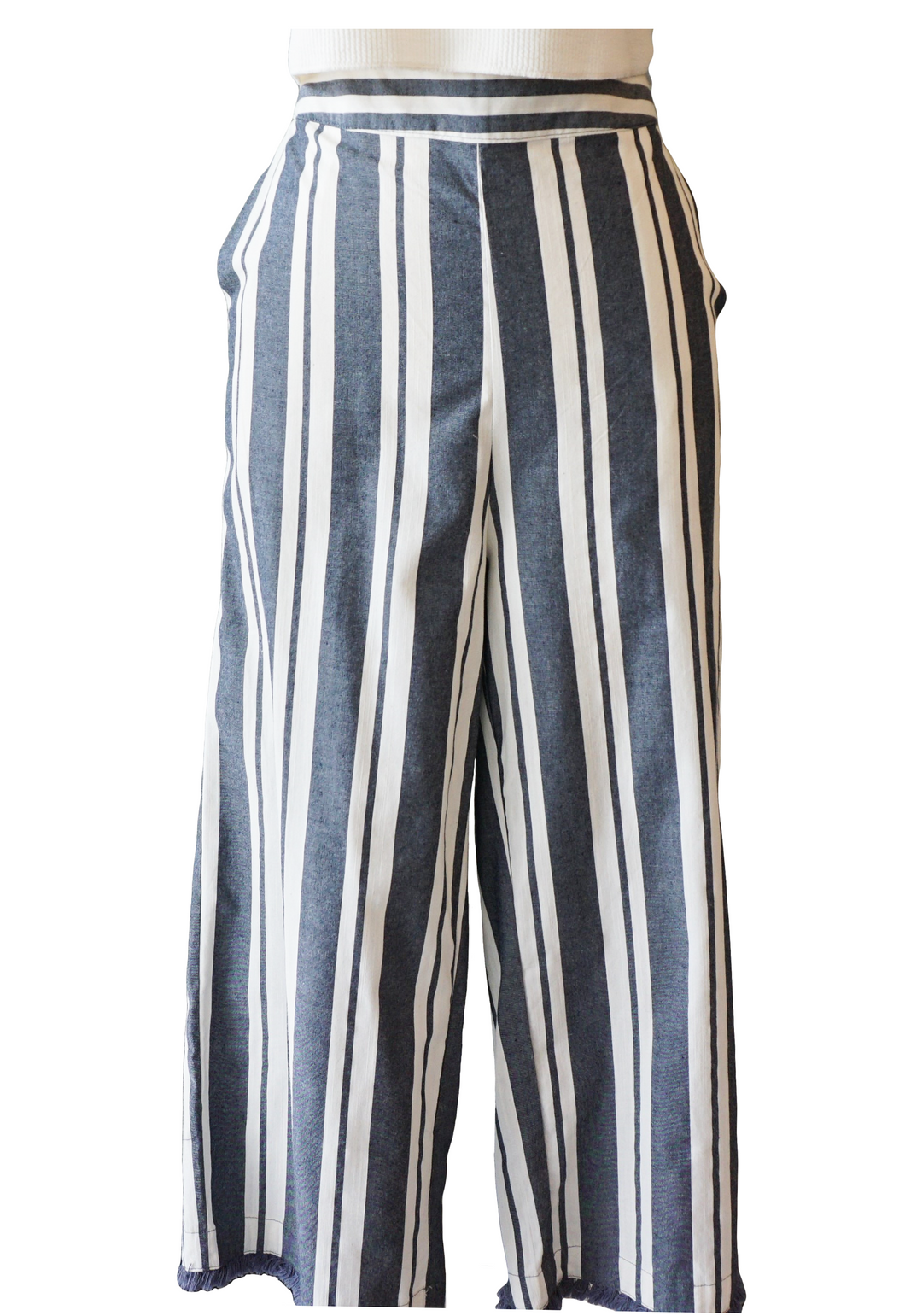 Blue and White Stripe Fringe Hem Pant - Accents Dallas