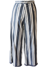 Load image into Gallery viewer, Blue and White Stripe Fringe Hem Pant - Accents Dallas