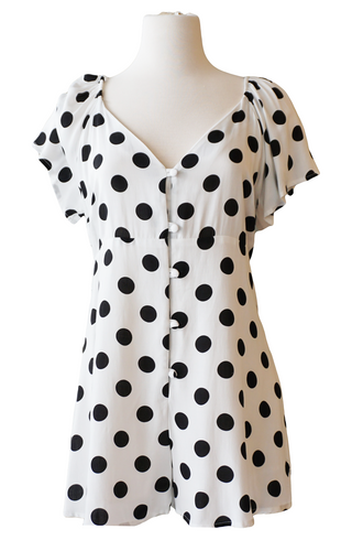 White + Black Polka Dot Romper - Accents Dallas
