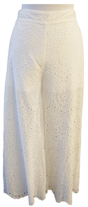 White Lace Embroidered Pants - Accents Dallas