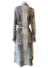 Load image into Gallery viewer, Snake Print Long Sleeve Midi Shirt Dress - Accents Dallas