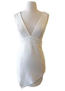 White Deep V  Asymmetrical Bodycon Dress - Accents Dallas