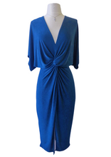 Load image into Gallery viewer, blue twist midi dress