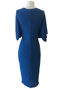 blue twist midi dress