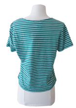 Load image into Gallery viewer, Green and White Striped Surplice Tie Tee - Accents Dallas